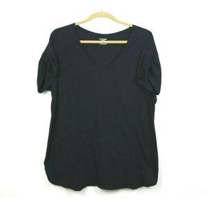 Lane Bryant Womens Blouse Ruched Short Sleeve 28W
